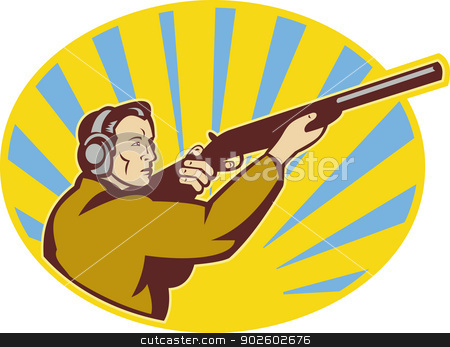 Hunter aiming rifle shotgun stock photo, illustration of a Hunter aiming rifle shotgun side view by patrimonio