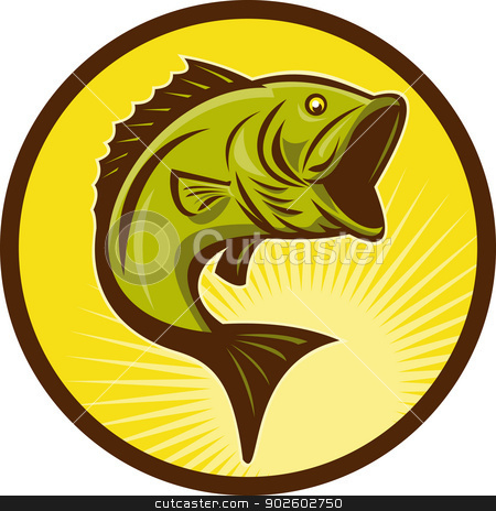 Largemouth Bass fish jumping stock photo, illustration of a Largemouth Bass fish jumping done in retro woodcut style by patrimonio