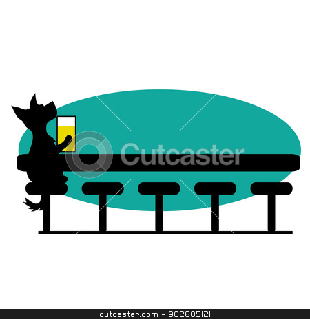 Dog Bar stock vector clipart, A dog is sitting at a bar having a beer - there is room for text by Maria Bell
