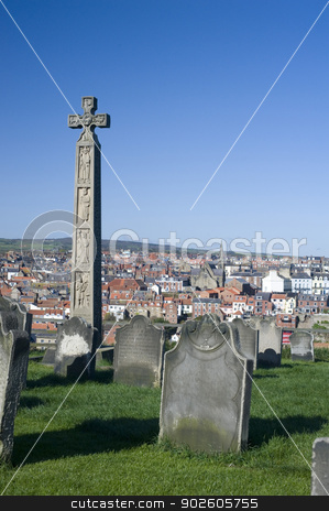 Caedmons Cross, Whitby stock photo, Caedmons Cross, an ornately carved and inscribed stone celtic cross commemorating, Caedmon, an Anglo-Saxon, poet and songwriter, in St Marys Graveyard in Whitby by Stephen Gibson