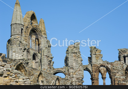 Close-up of the Whitby Abbey gothic ruins stock photo, Close-up of the Whitby Abbey gothic ruins with the top of the facade and nave column during a sunny day. Whitby, North Yorkshire, England, United Kingdom, Europe by Stephen Gibson