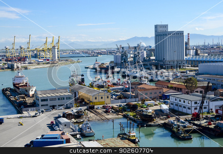 Port of Livorno, Italy stock photo, The busy port of Livorno, Italy by Bonnie Fink