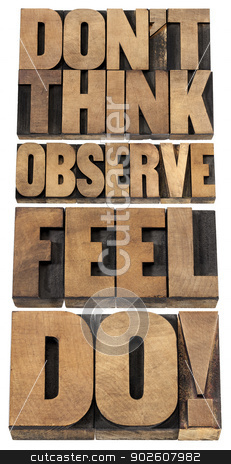 observe, feel and do stock photo, do not think, observe, feel and do - motivational advice - a collage of isolated text in letterpress wood type by Marek Uliasz