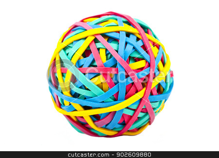 Rubber (Elastic) Band Ball stock photo, A ball made up from Rubber/Elastic Bands over a white background. by Chris Dorney