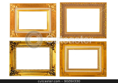 Gold vintage frame isolated on white background  stock photo, Gold vintage frame isolated on white background  by photomyheart