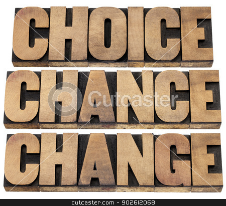 choice, chance and change stock photo, choice, chance and change words - 3 Cs in life concept  - isolated text in letterpress wood type by Marek Uliasz