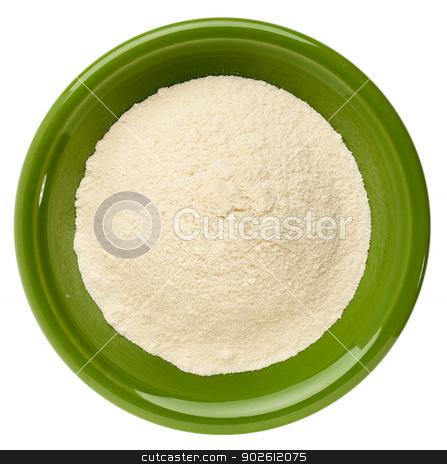 whey protein powder  stock photo, whey protein powder in a small ceramic bowl isolated on white by Marek Uliasz