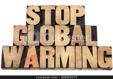 stop global warming stock photo, stop global warming - environmental concept - isolated text in letterpress wood type by Marek Uliasz