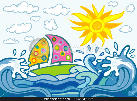 summer background with waves boat and sun stock vector clipart, illustration of summer background with waves boat and sun by bobyramone