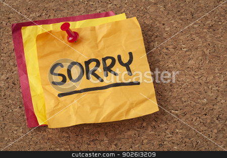 sorry - apology on sticky note stock photo, sorry apology - handwriting on a orange sticky note by Marek Uliasz