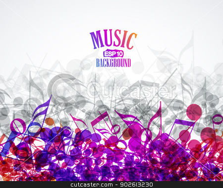 music background stock vector clipart, Vector musical background with colored notes by Miroslava Hlavacova