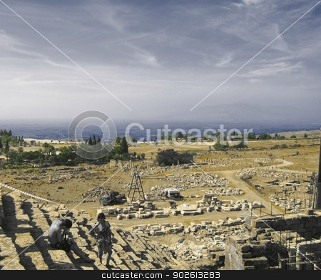 Ancient amphitheatre  in Hierapolis, Pamukkale, Turkey stock photo, Ancient amphitheatre  in Hierapolis, Pamukkale, Turkey by sculler