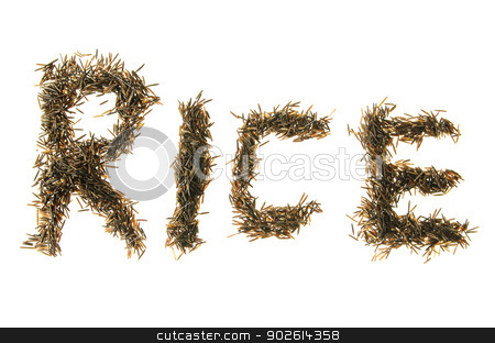 Wild Rice Spelling rice stock photo, wild rice grains made to spell out rice by Richard Nelson
