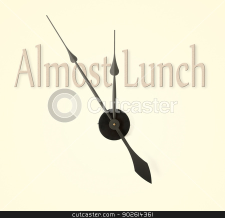 Lunch Time stock photo, Clock hands pointing to almost lunch time by Richard Nelson