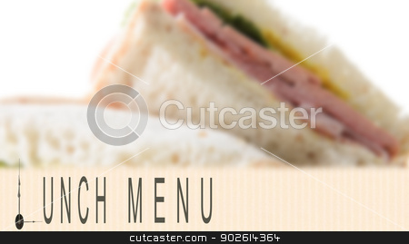 Lunch Menu stock photo, Lunch menu written with clock hands and sandwich in the background by Richard Nelson