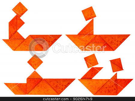 tangram fisherman or rower stock photo, four abstract pictures of a fisherman, paddler or rower in a boat built from seven tangram wooden pieces, a traditional Chinese puzzle game by Marek Uliasz