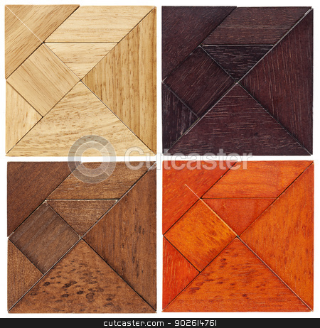 tangram squares stock photo, four tangram squares in different wood,  a traditional Chinese puzzle game by Marek Uliasz