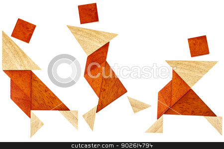 tangram dancer or martial fighter stock photo, three abstract figures of a dancer or perhaps martial artist built from seven tangram wooden pieces, a traditional Chinese puzzle game by Marek Uliasz