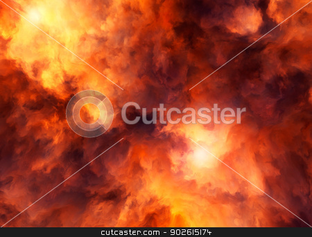 Red Storm Raging stock photo, Illustrated roiling red and yellow clouds representing intense energy, massive explosion or fiery conflagration. by Mark Carrel