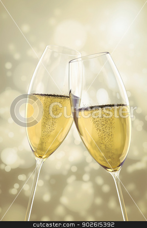 2 Champagne glasses stock photo, An image of two Champagne glasses on light bokeh background by Markus Gann