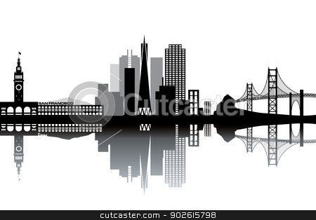 San Francisco skyline stock vector clipart, San Francisco skyline - black and white vector illustration by Ilyes Laszlo
