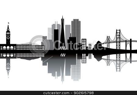 San Francisco skyline stock vector clipart, San Francisco skyline - black and white vector illustration by ojal_2