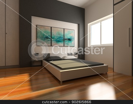 3D interior of a bed room stock photo, 3D interior of a bed room by Haider Azim