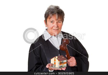 Female lawyer stock photo, Female laywer with modell house - isolated on white background by Birgit Reitz-Hofmann