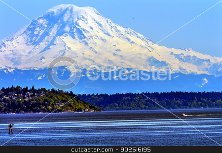 Mount Rainier Puget Sound North Seattle Snow Mountain Washington stock photo, Mount Rainier Puget Sound North Seattle Snow Mountain Channel Marker Washington State Pacific Northwest by William Perry