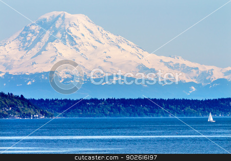 Mount Rainier Puget Sound North Seattle Snow Mountain Washington stock photo, Mount Rainier Puget Sound North Seattle Snow Mountain Sailboat Washington State Pacific Northwest by William Perry