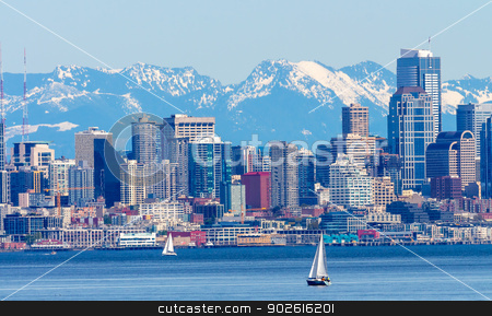 Seattle Skyline Sailboats Puget Sound Cascade Mountains Washingt stock photo, Seattle Skyline Sailboats Puget Sound Cascade Mountains Washington State Pacific Northwest by William Perry