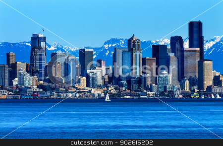 Seattle Skyline Puget Sound Cascade Mountains Washington State stock photo, Seattle Skyline Sailboat Puget Sound Cascade Mountains Washington State Pacific Northwest by William Perry