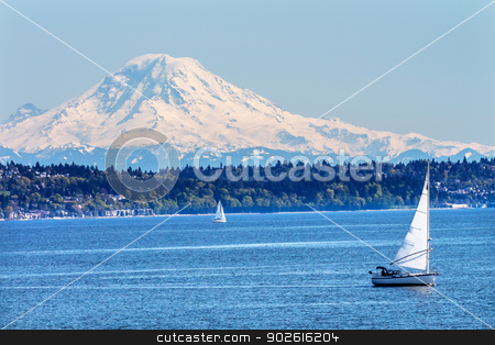 Mount Rainier Puget Sound North Seattle Snow Mountain Washington stock photo, Mount Rainier Puget Sound North Seattle Snow Mountain Sailboats Washington State Pacific Northwest by William Perry