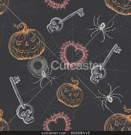 Hand Drawn Vintage Halloween Seamless Pattern stock vector clipart, Spooky vintage inspired full-repeat pattern wallpaper. by ArtnerDluxe