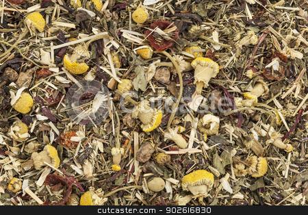 herbal tea background stock photo, background of organic herbal tea - chamomile, peppermint,,orange peel, rose hips, hibiscus, by Marek Uliasz
