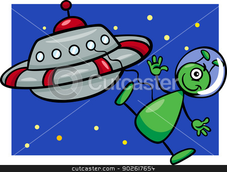 alien with ufo cartoon illustration stock vector clipart, Cartoon Illustration of Funny Alien or Martian Comic Character with Flying Saucer or Spaceship or Ufo by Igor Zakowski
