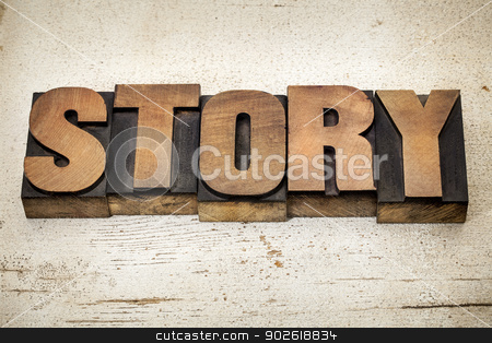 story word in wood type stock photo, story - a word in vintage letterpress wood type on a grunge painted banr wood background by Marek Uliasz