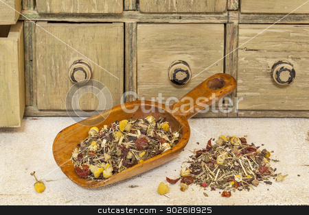 organic herbal tea with chamomile stock photo, organic herbal tea (chamomile, peppermint,,orange peel, rose hips, hibiscus,) - rustic wooden scoop and a pile on rough white painted barn wood with a primitive apothecary drawer cabinet by Marek Uliasz