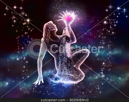 Aquarius Water-Bearer stock photo, Zodiac  Aquarius Water-Bearer is mystique and charm. The night sky and the sea. Your dreams and fantasies.  by Helein