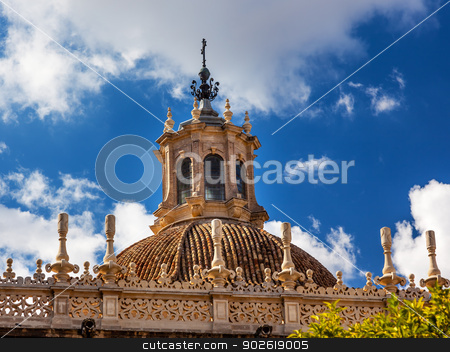 Dome Cathedral of Saint Mary of the See Spire Weather Vane Sevil stock photo, Dome Seville Cathedral, Cathedral of Saint Mary of the See, Seville, Andalusia Spain.  Built in the 1500s.  Largest Gothic Cathedral in the World and Third Largest Church in the World.  Burial Place of Christopher Columbus.  Giralda is a former minaret converted into a bell tower by William Perry