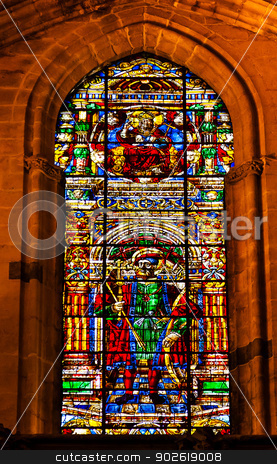 King Ferdinand Stained Glass Cathedral of Saint Mary of the See  stock photo, King Ferdinand Stained Glass Created 1500s Seville Cathedral, Cathedral of Saint Mary of the See, Seville, Andalusia Spain.  Built in the 1500s.  Largest Gothic Cathedral in the World and Third Largest Church in the World.  Burial Place of Christopher Columbus. by William Perry