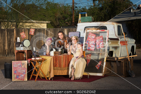 Gypsy Travellers Outside stock photo, Gypsy travellers with fortune telling stand outside by Scott Griessel