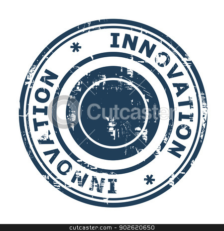 Business innovation concept stamp stock photo, Business innovation concept stamp isolated on a white background. by Martin Crowdy