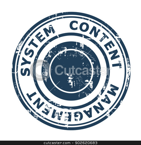 Content Management System concept stamp stock photo, Content Management System concept stamp isolated on a white background. by Martin Crowdy
