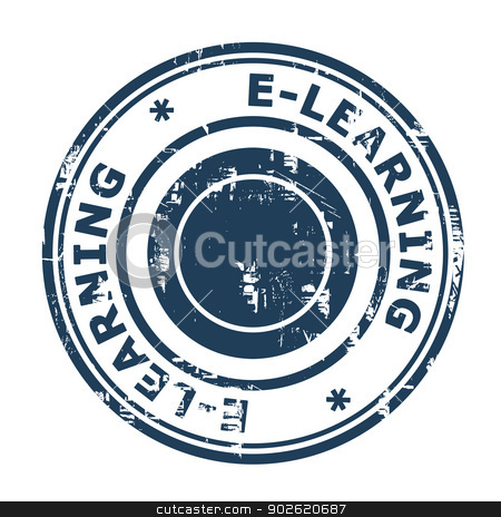 E-Learning concept stamp stock photo, E-Learning concept stamp isolated on a white background. by Martin Crowdy