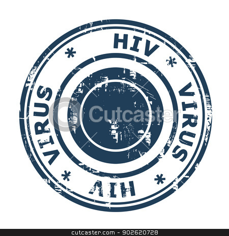HIV virus Stamp stock photo, HIV virus Stamp isolated on a white background. by Martin Crowdy