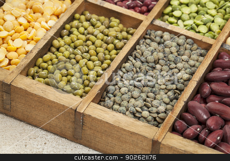pea, lentil, bean abstract stock photo, legumes in box abstract with a selective focus on French green lentil by Marek Uliasz