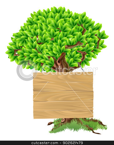 Tree Sign stock vector clipart, Illustration of a bright green tree with a wooden sign suspended from it by Christos Georghiou