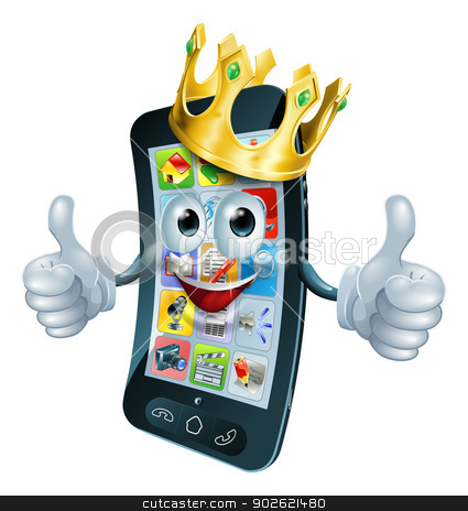 Cartoon phone man king stock vector clipart, A cute happy cartoon phone man king with thumbs up and gold crown on his head by Christos Georghiou