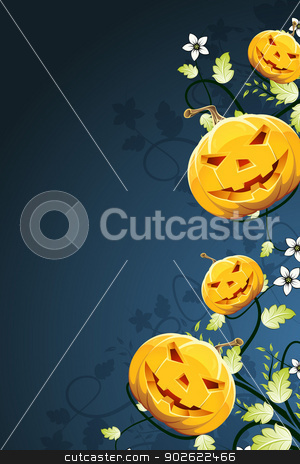 Abstract Halloween Background with Flowers stock vector clipart, Halloween Pumpkins on Abstract Background with Flowers by Vadym Nechyporenko